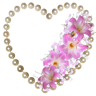 Pearls, Heart, Lilies, DecorationPearls Heart Lilies Decoration.png