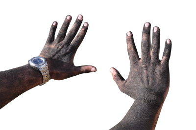 Dirty hand PSD file with small and medium free transparent PNG images