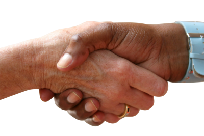 Hand shake PSD file with attached transparent PNG images